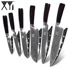 XYj Kitchen Cook Knife Set 7cr17 Stainless Steel Knife Set New Arrival 2019 Damascus Veins Cooking Knives Set Accessories Tools(China)