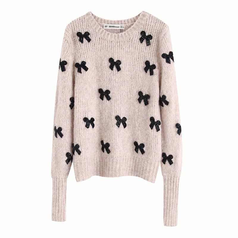 Qz977 가을 여성 새로운 디자인 검은 나비 매듭 데코 긴 소매 베이지 스웨터 세련된 스웨터