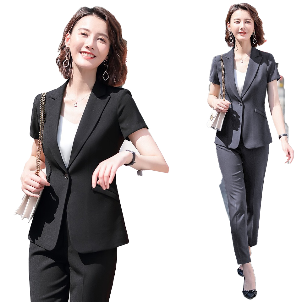 Female Elegant Formal Office Work Wear Summer Formal Women Pants Suits Grey Blazer And Jacket Sets Ladies Clothes Short Sleeve