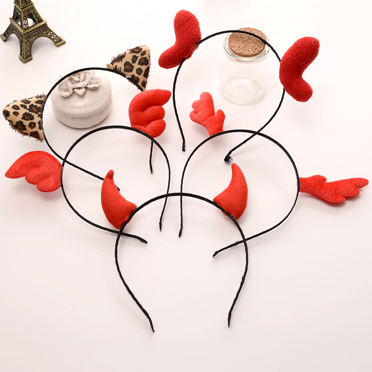2019 Cute Lovely Girl Hair Accessories Headband Leopard Cat Ears Angel Wings Hair Band Christmas Antlers Horns Headband