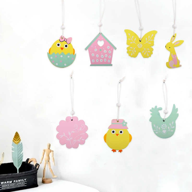 9 Uds. Conejo de pascua colgante de madera decoración DIY artesanías colgantes de madera lindo conejito adornos de Pascua suministros de fiesta artesanías de madera regalo