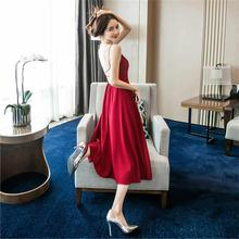 2019 Spring and summer new style Nightclub sexy red dress Cross open back Beach holiday beach New women clothes