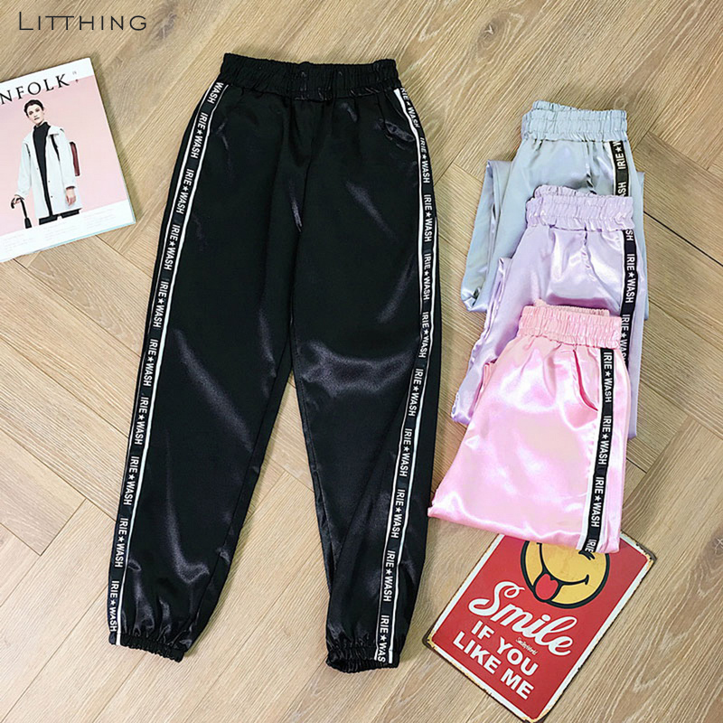 LITTHING Trousers Harem-Pants Satin Highlight Harajuku Joggers Big-Pocket Sport Women