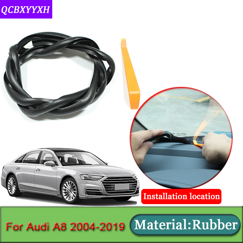 Car-styling For <font><b>Audi</b></font> <font><b>A8</b></font> 2004-2019 Rubber Anti-Noise Soundproof Dustproof Car Dashboard Windshield Sealing Strips Car Accessories image
