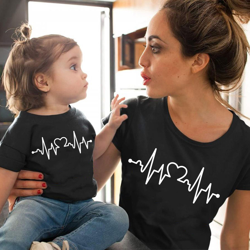 Heartbeat Love Family Matching Clothes Family Look Mommy And Me Clothes Matching Family Outfits Cotton Tops Kids Boys T-shirt