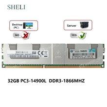 Memória do servidor de sheli 32 gb 4rx4 PC3-14900L DDR3-1866 mhz 240pin 1.5 v ecc lrdimm