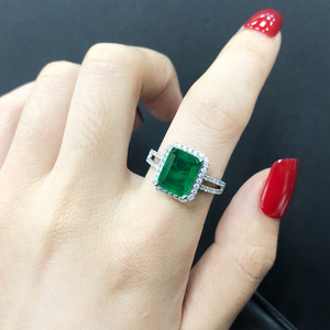 Image 5 - PANSYSEN Luxury Top Quality  Emerald Rings for Women Wedding Engagement Cocktail Ring 100% 925 Sterling Silver Fine Jewelry Gift