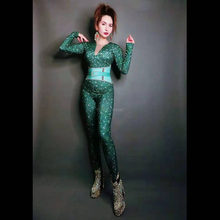 Green Rhinestones Stretch Bodysuit Birthday Celebrate Outfit Sexy Dance Performance Jumpsuit Evening Women Singer Dance Outfit(China)