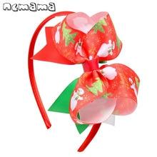 ncmama Christmas Printed Big Bowknot Hairbands for Girls Hair Band Hoop Headband Cute Snowman & Elk Pattern Party Kids Headwear