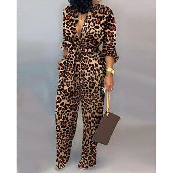 Sexy women romper Leopard Tied Waist Long Sleeve Jumpsuit grommet detail tied open sleeve sweatshirt