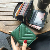 Rivet Cowhide Leather Women Wallet Retro Genuine Leather Female Clutch Purse Luxury Designer Handbags Zipper Card Holder