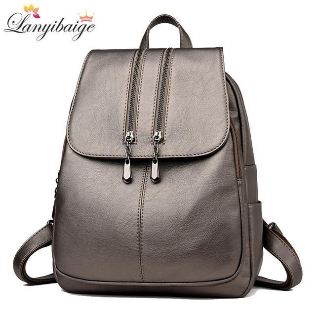 Casual duplo zíper mochila feminina grande capacidade saco de escola para a menina marca couro bolsa de ombro 2018 senhora mochila viagem