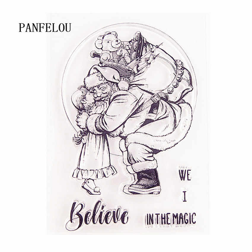 Panfelou 11x15cm natal papai noel abraço transparente silicone borracha limpar selos dos desenhos animados scrapbooking/diy ano novo álbum