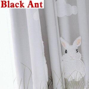Cortinas de franela blanca de dibujos animados para ventana, decoración de tul bordada, tela de gasa transparente para dormitorio de niños y niñas, ZH058F