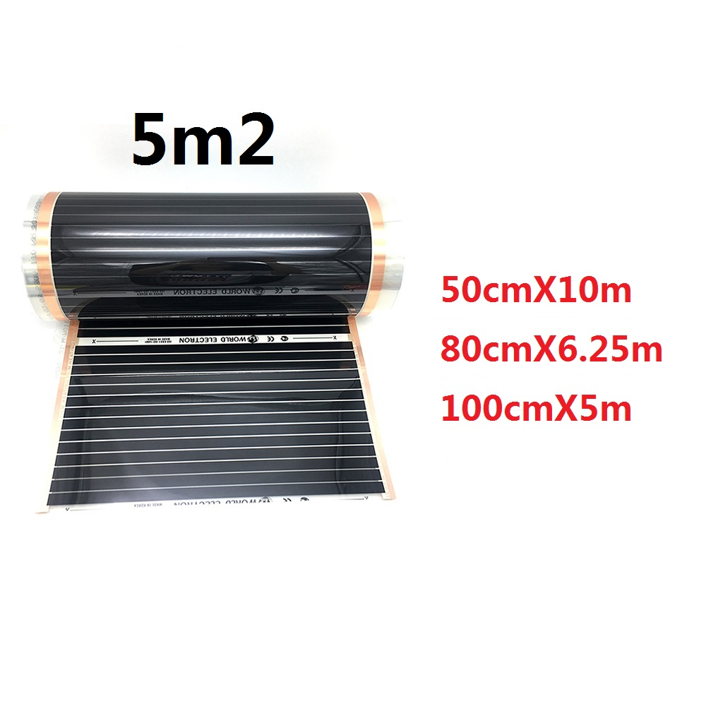 5 Square Meters Underfloor 220W/m2 Heating Film Electric Infrared Warm Floor Width 50cm, 80cm, 100cm