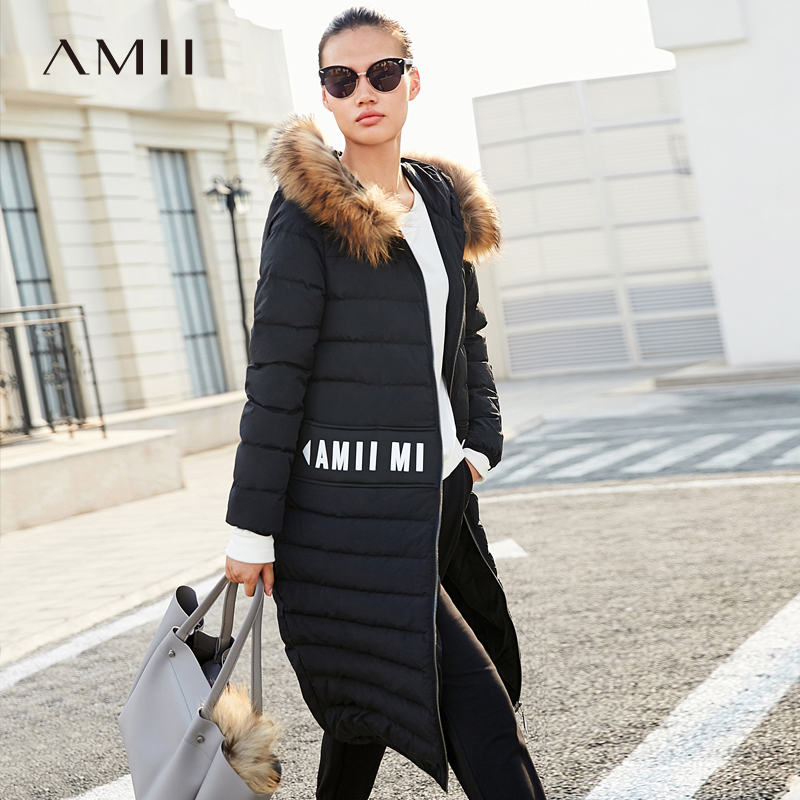 Amii Minimalism Winter Fur Collar Stripe Down Jacket Women Causal Solid Thick Long Coat 11783859