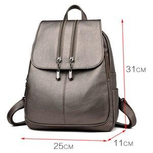 Image 2 - Casual duplo zíper mochila feminina grande capacidade saco de escola para a menina marca couro bolsa de ombro 2018 senhora mochila viagem