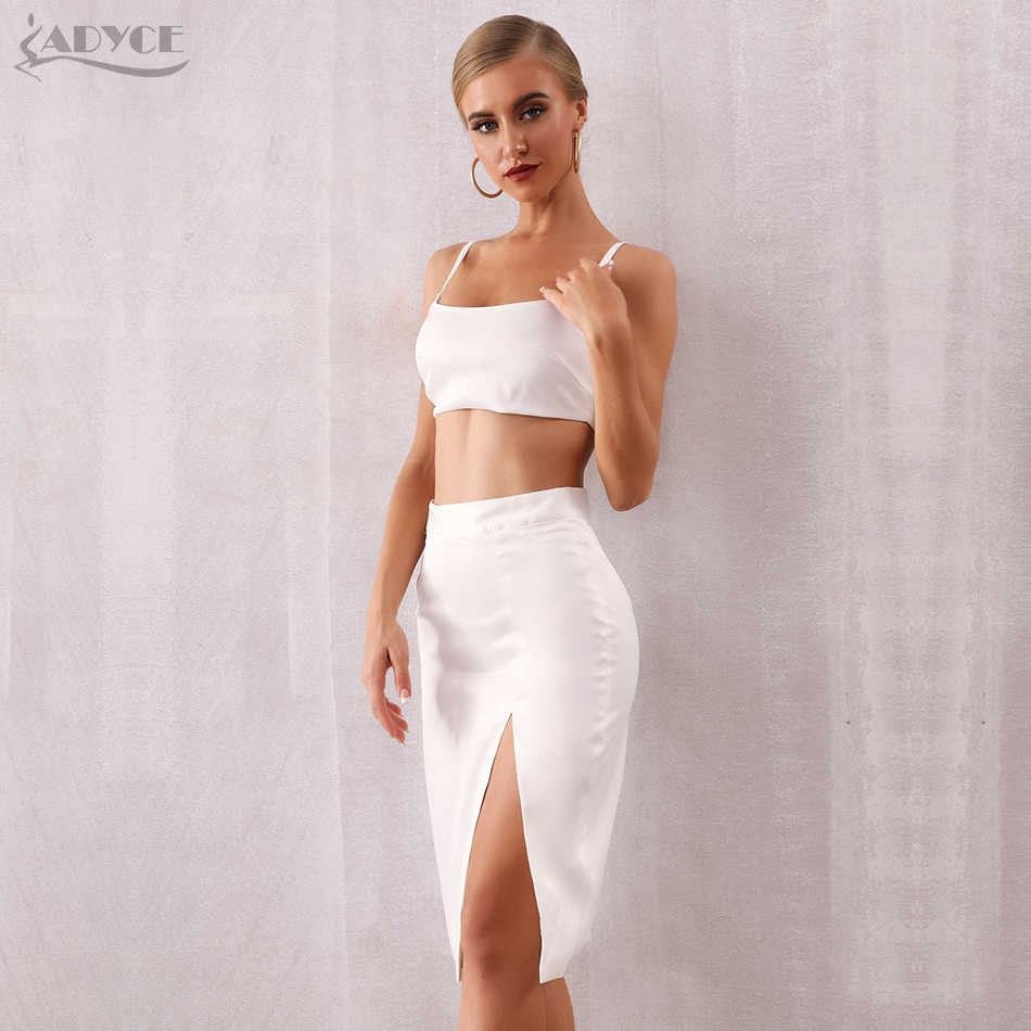 ADYCE 2019 New Summer Women Bodycon Fashion Set Dress Vestido 2 Two pieces Set Top& Skirt White Sleeveless Celebrity Party Dress
