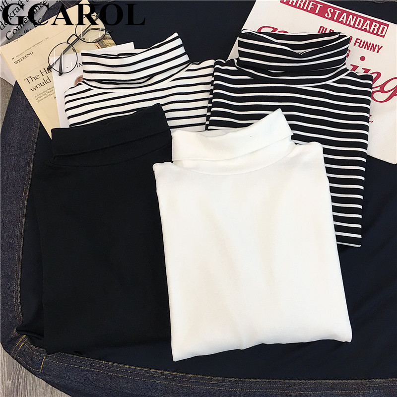 GCAROL damska koszulka z golfem w paski z pełnym rękawem topy ze streczu podstawowe opuszczane ramiona podkoszulek Basic Perfect Pullover M-XL 1