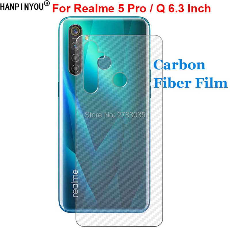 "For OPPO Realme 5 Pro / Q 6.3"" New Durable 3D Anti-fingerprint Carbon Fiber Back Film Rear Screen Protector (Not Tempered Glass)"
