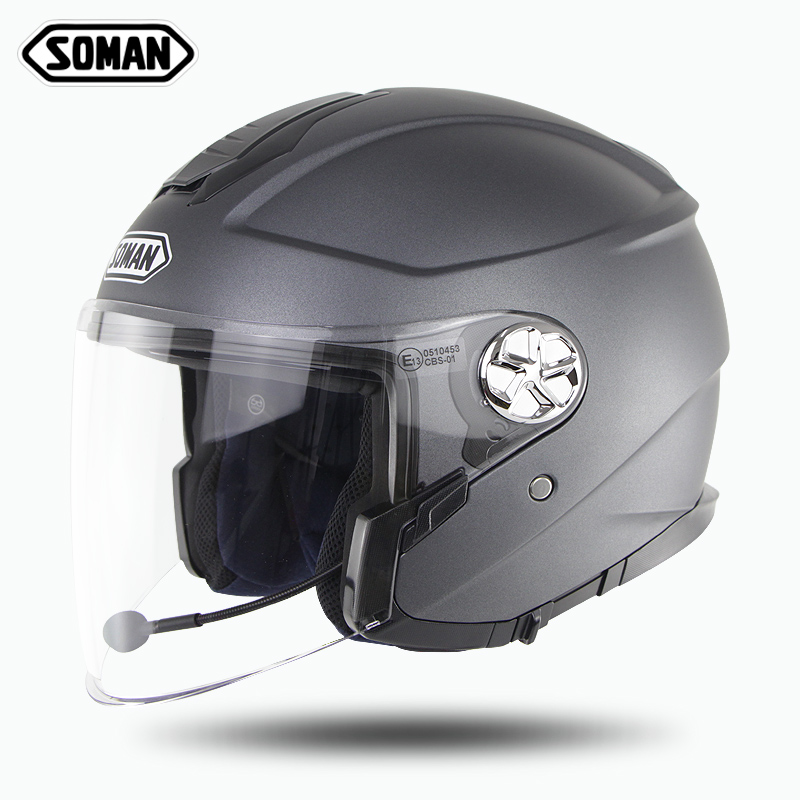 Soman Bluetooth козырек для мотоцикла шлем с открытым лицом шлем анти-УФ Ретро шлем мото беспроводной Ece скутер шлем для женщин