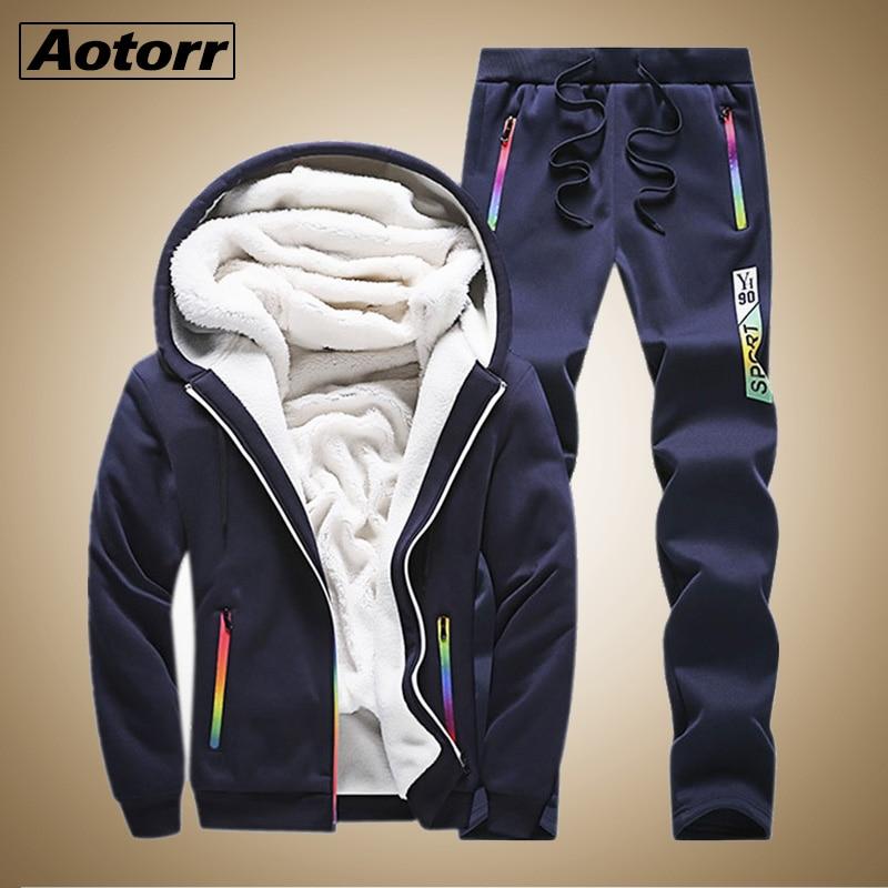 Tracksuit Men Sporting Fleece Thick Hooded Men Jacket+Pant Warm Fur Inside Winter Sweatshirt Men's Clothing Set Plus Size 4XL