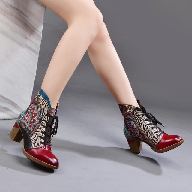 Ladies Genuine Leather Round Toe Winter Ankle Booties