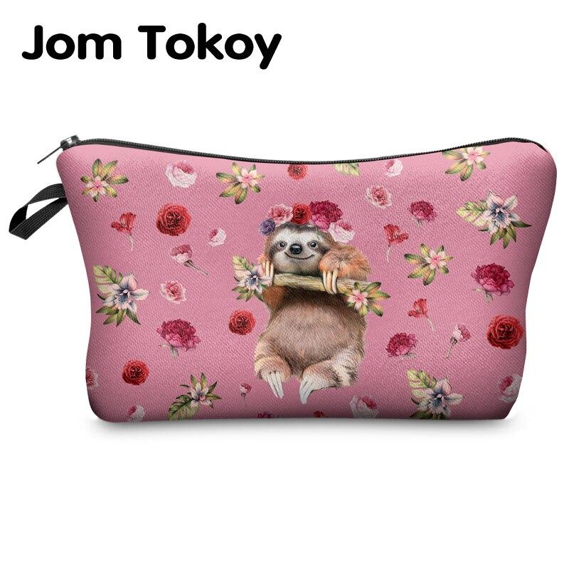 Jomtokoy Women Cosmetic Bag Sloth Pattern Digital Printing Toiletry Bag For Travel Organizer Makeup Bag Hzb1014