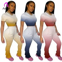 2020 Women's Two Piece Set Plus Size Stacked Trousers Leggings Pants Tracksuit C