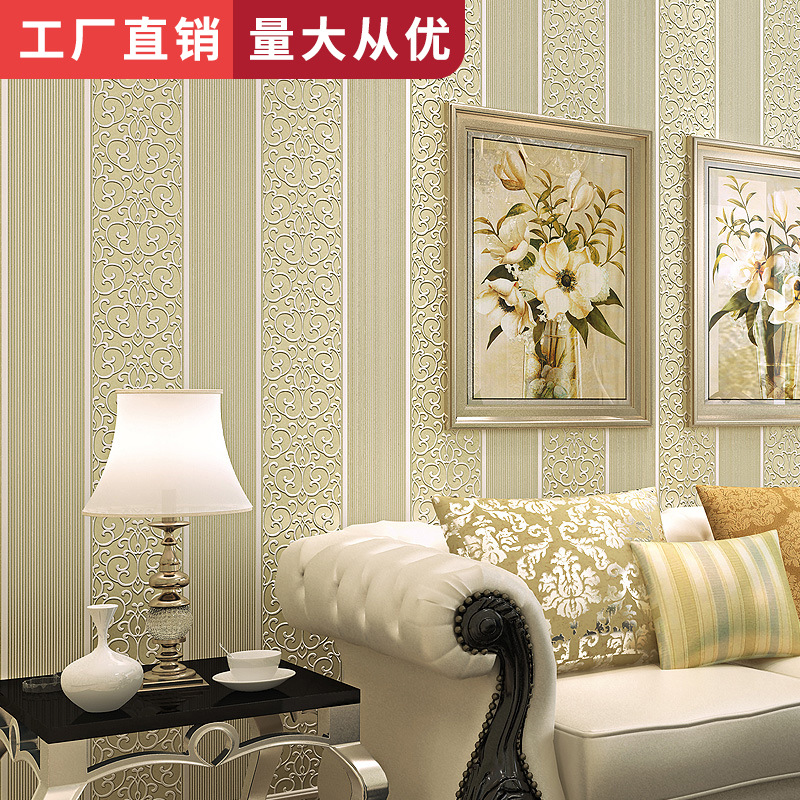 Bedroom Living Room Library Wall Wallpaper European Style Simple 3D Relief Stripes Non-woven Wallpaper Wholesale