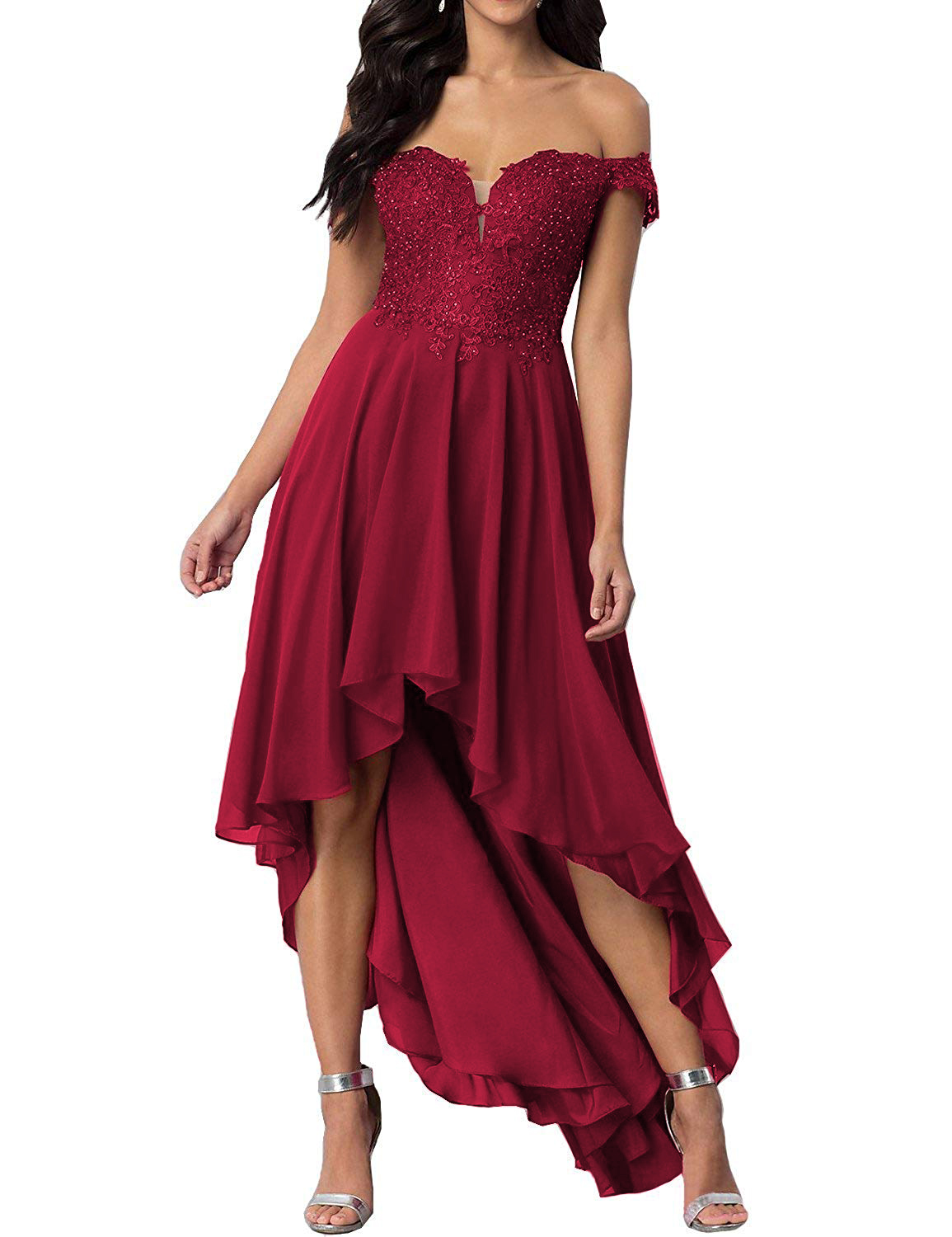 Simple A Line High Low Cocktail Dresses Chiffon Summer Party Gown Lace Appliques Burgundy Homecoming Dress