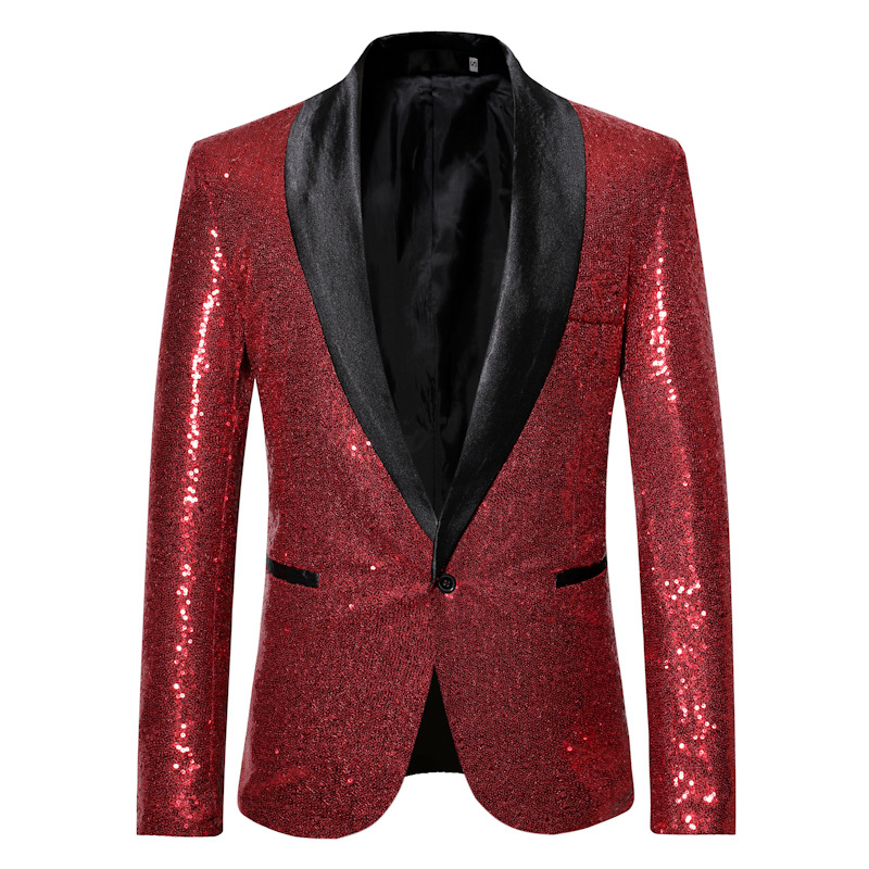 Europe And America Performance Formal Dress Gold Sequin Suit South Korea Suit Nightclub Men'S Wear Host Master Of Ceremonies Stu