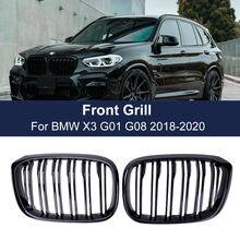 2 uds rejilla frontal riñón parrilla doble listón para BMW 3 4 X3 X4 G01 G02 G08 2018 2019 2020 carreras de parrillas accesorios de estilo de coche