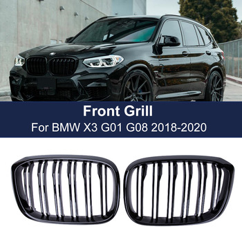 2PCS Front Grille Kidney Grill Double Slat For BMW 3 4 X3 X4 G01 G02 G08 2018 2019 2020 Racing Grills Car Styling Accessories 2pcs set double slat kidney grille front bumper racing grill for bmw 4 series f32 f33 f36 420i 428i 435i m4 2014 2016