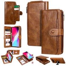 Retro Multifunction Detachable Zipper Wallet Case for Samsung Note 10 10+ S10 S10E S9 S8 Plus S10(5G) Flip PU Leather Case Coque