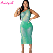 Adogirl Diamonds Sheer Mesh Women Sexy Dress One Shoulder Backless Bodycon Midi Night Club Party Dresses Female Fashion Clothing