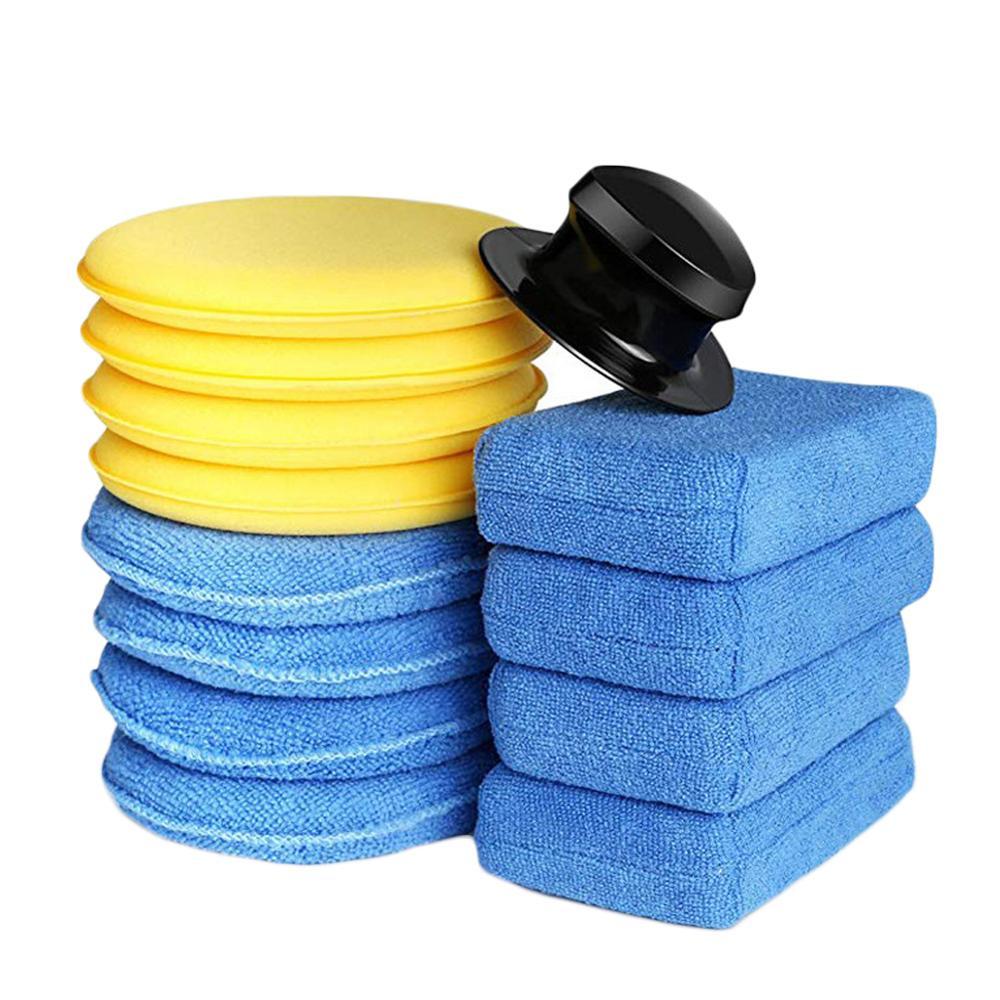 13 pces microfiber macio carro polimento enceramento esponja detalhando cuidados com alca aplicador enceramento almofada suprimentos