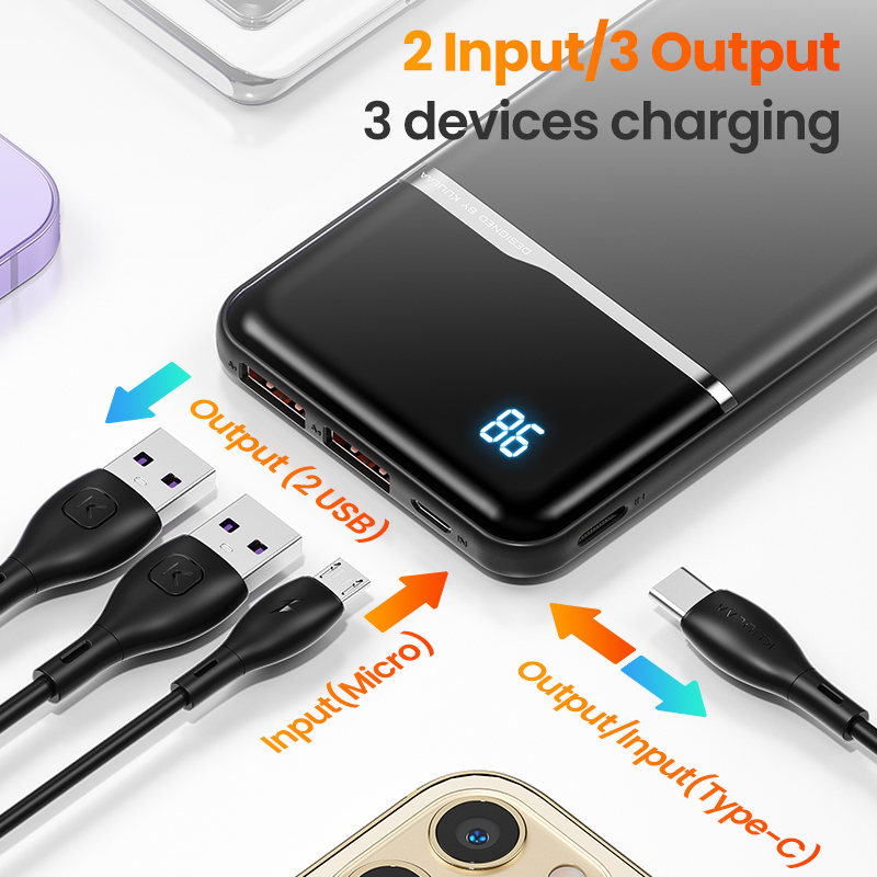 KUULAA Power Bank 10000mAh Portable Charging PowerBank 10000 mAh USB PoverBank External Battery Charger For Xiaomi Mi 9 8 iPhone 4