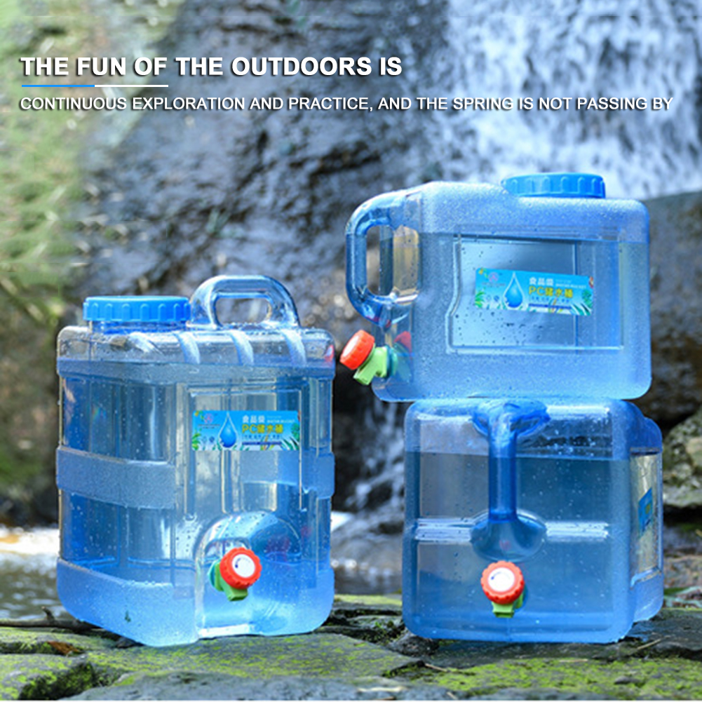 Outdoor Water Barrel Bucket Portable Picnic Water Tank Container w// Faucet