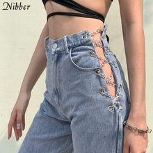 Nibber harajuku a vita alta scava fuori Della Catena design Sottile jeans donna per il tempo libero streetwear Pendolari di alta qualità strgight pantaloni mujer