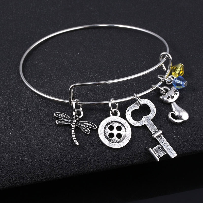 Horror Movie Coraline Bracelet Bangles Dragonfly Button Key Charms Wrist Pendant Cuff Bangles For Kids Halloween Jewelry Gift Charm Bracelets Aliexpress