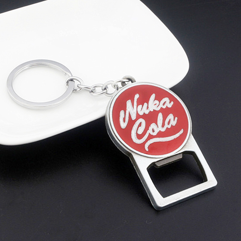 New Game Fallouts Nuka Cola Opener Red Keychains Bottle Cap Car Keyring Key Chain For Women Men Corkscrew Love Beer Jewelry Gift