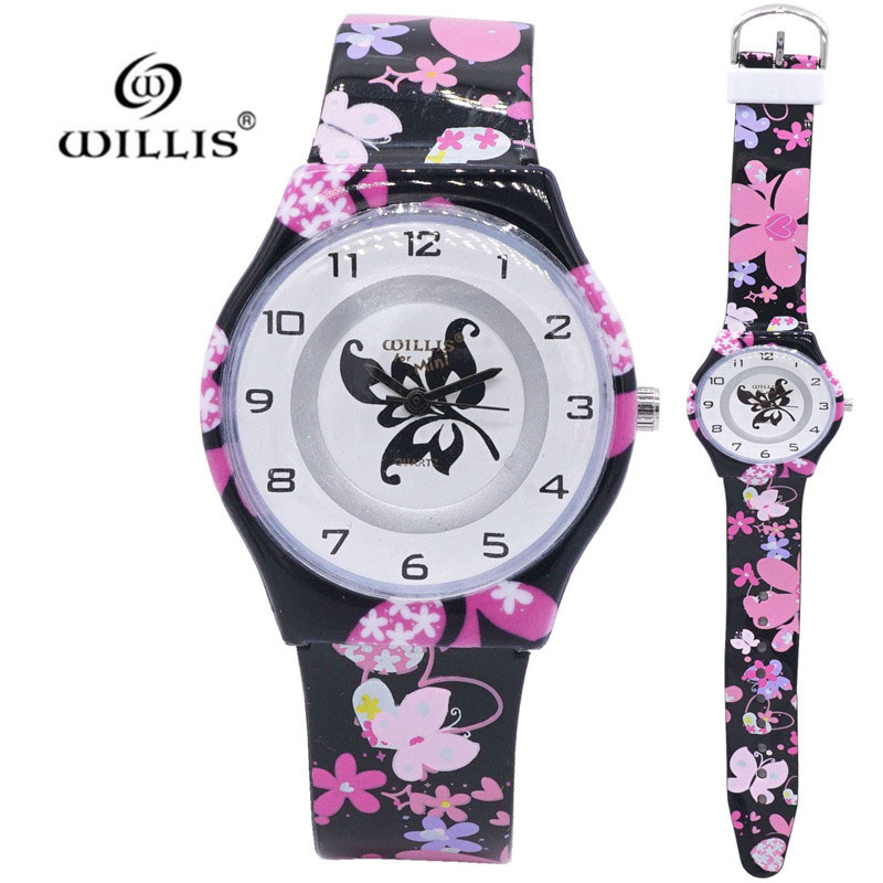 New Arrival Women Brand Elegant Butterfly Kids Watch Quartz Clock Wristwatch Silicone Girls Ultra Thin Band Watches Relogio