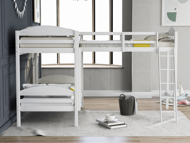 Twin over Twin Bunk Beds with Slide Loft Bed 2