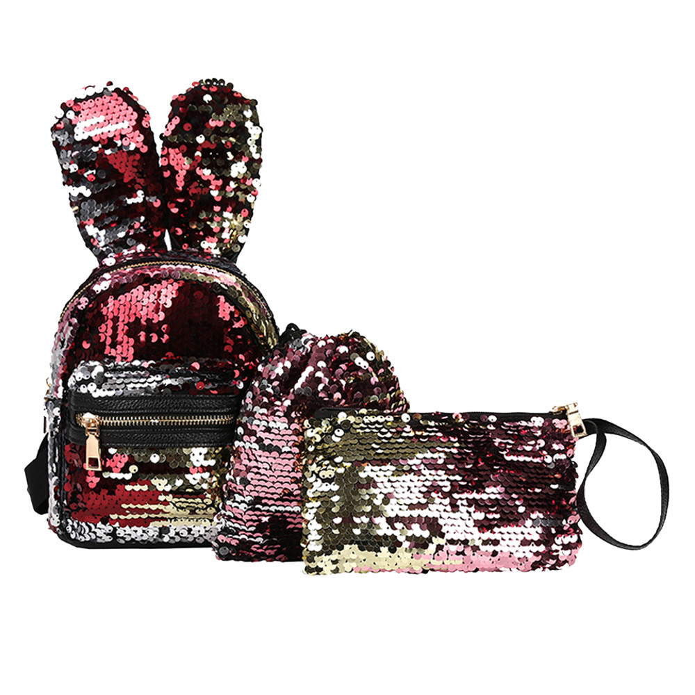 3Pcs Student Shoulder Bags Children Sequins Bunny Ears Backpacks+Drawstring Bag+Crossbody Bag Baby Girl Backpack Combination #97