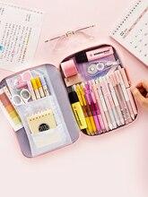 JIANWU 1 adet kore yaratıcı kırtasiye çantası kızlar ve erkekler için yüksek kapasiteli kalem çantası durumda okul ofis malzemeleri Kawaii