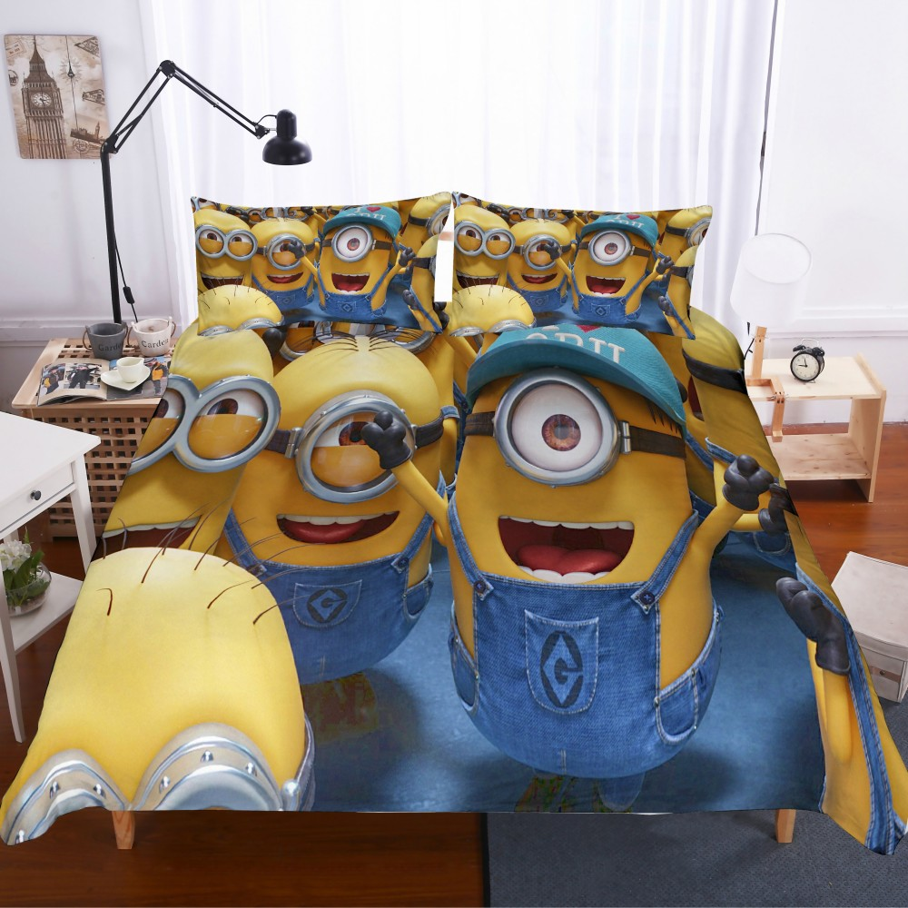 100% Microfiber Bedding Set Cartoon Minions Bed Linen Set With Pillowcase Twin Full Queen King Size Duvet Cover Set Great Gift