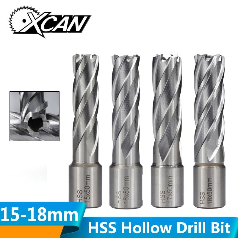 XCAN 50mm Length HSS Hollow Drill Bit Weldon Shank Magnetic Drill Bit Metal Hole Cutter Core Drill Bit 15/16/17/18mm