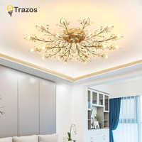 TRAZOS nuevo artículo de lujo Luz de techo LED de cristal lámpara de techo lámparas modernas para las luces de la sala de estar, iluminación de cristal DIY AC110 240V