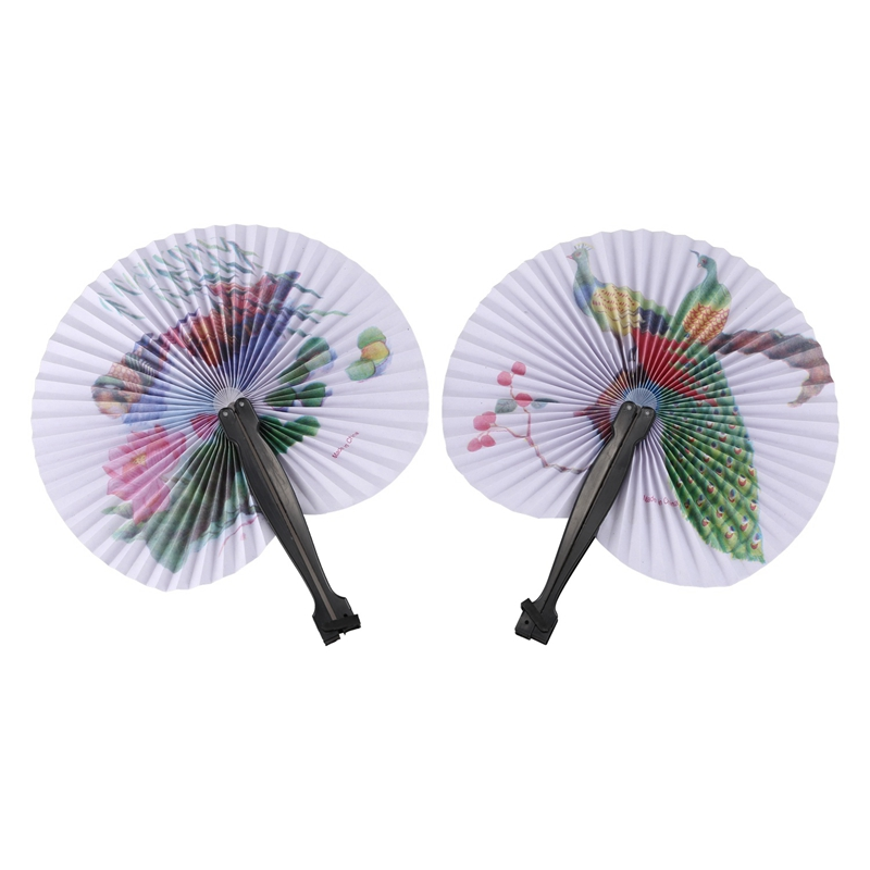 2PCS Paper Folding Chinese Oriental Floral Hand Fans Wedding Favours Table Outstanding Quality